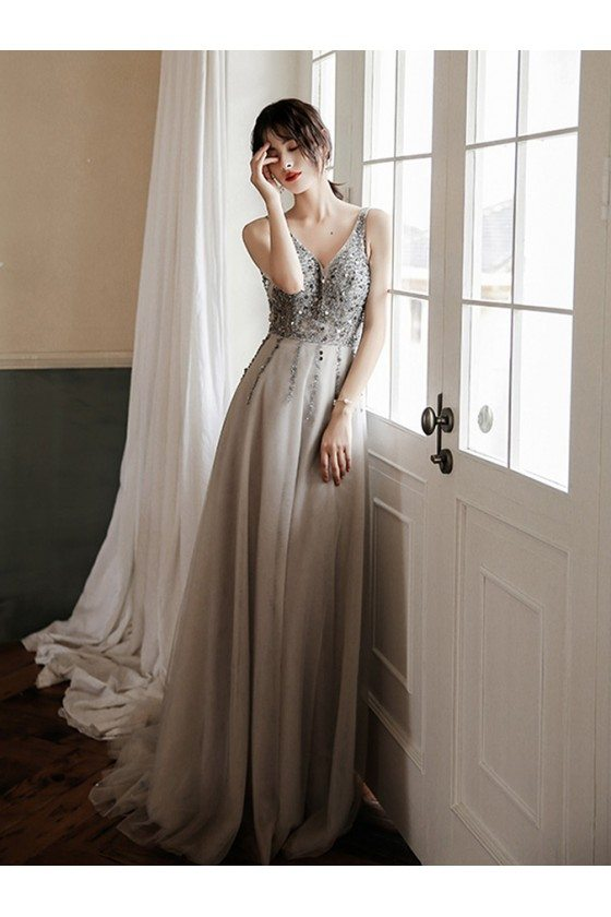 Popular Sequined Vneck Grey Cheap Prom Dress With Train