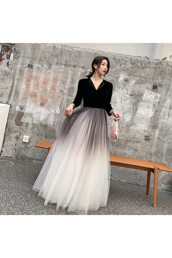 Velvet With Ombre Tulle Modest Party Dress With Vneck Collar