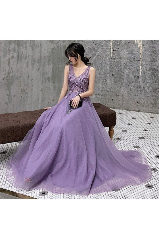 Pretty Purple Vneck Lace Cheap Prom Dress With Open Back