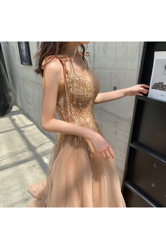 Khaki Train Long Tulle Vneck Prom Dress With Appliques