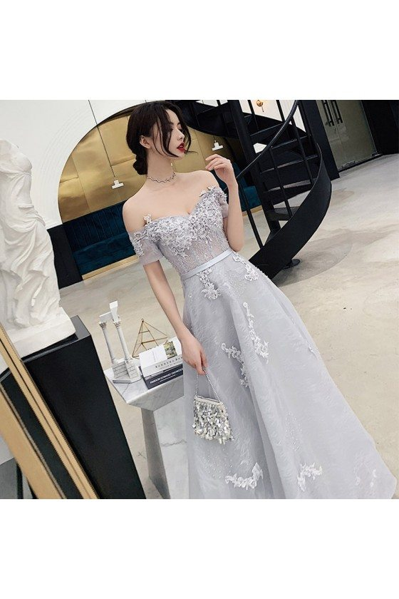 Grey Off Shoulder Lace Tulle Prom Dress With Beading