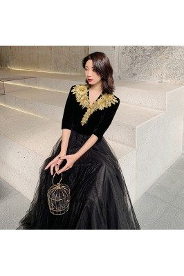 Formal Long Black With Gold...