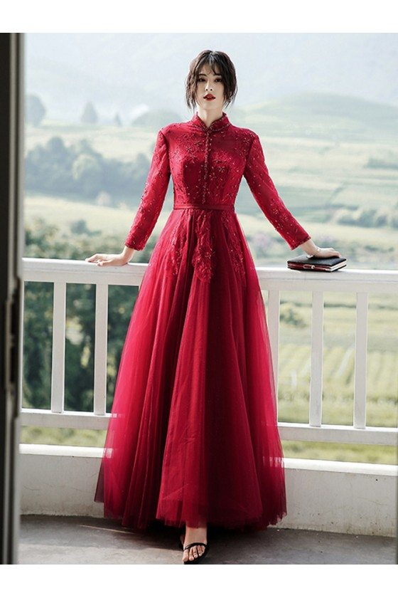 Beaded Lace Aline Long Formal Dress With Long Sleeves