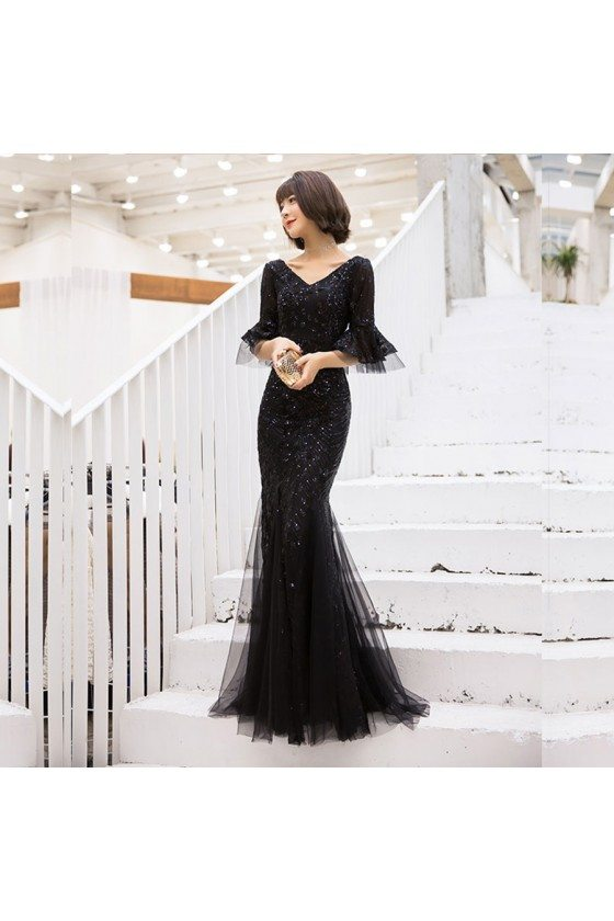 Long Black Sequined Mermaid Party Prom Dress With Flare Sleeves