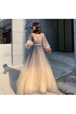 Ombre Long Tulle Sparkly...