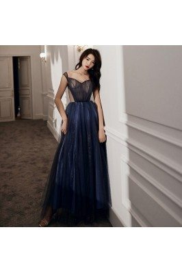 Blue Tulle Long Cutout...