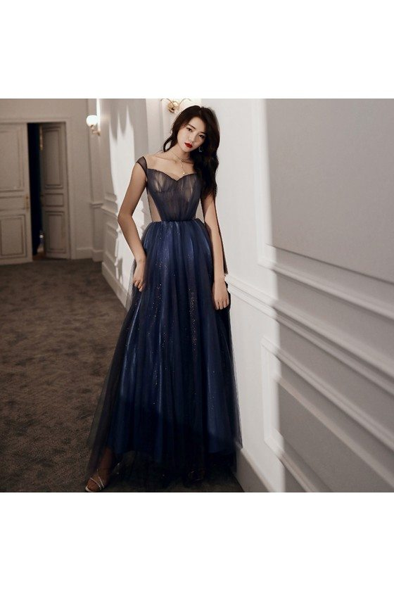 Blue Tulle Long Cutout Cheap Prom Dress With Laceup