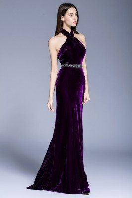 Sexy Long Formal Open Back Velvet Evening Dress