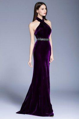 Sexy Long Formal Open Back Velvet Evening Dress