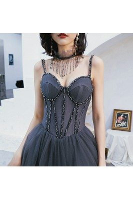 Corset Back Beaded Long...