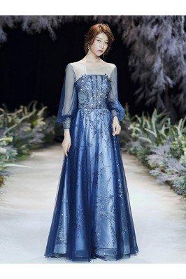 Blue Bling Sequins Aline...