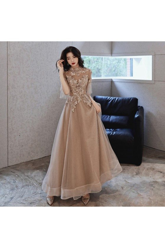 Modest High Neck Lace Brown Tulle Cheap Prom Dress With Tulle Sleeves