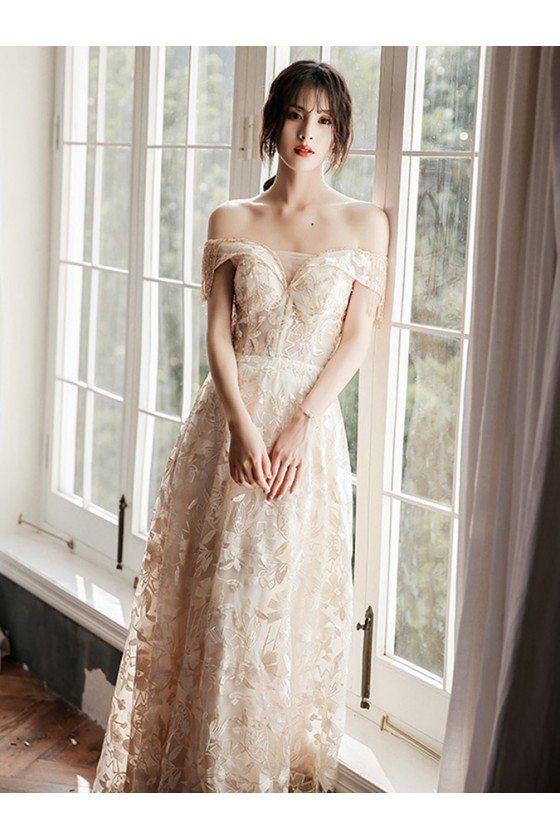 Elegant Champagne Lace Long Prom Dress Off Shoulder