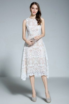 White Lace Sleeveless Short Dress