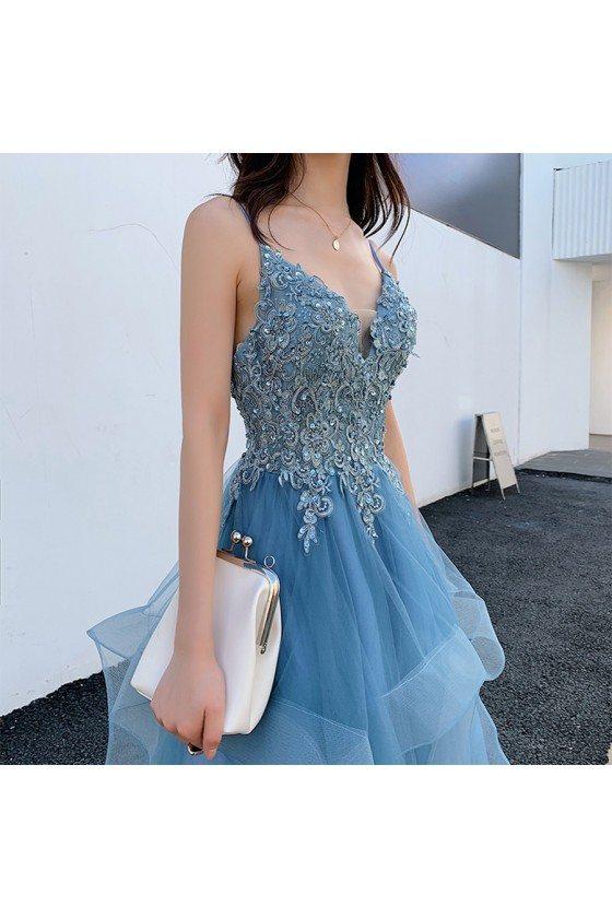 Blue Beaded Lace Beautiful Ruffled Prom Dress With Spaghetti Straps