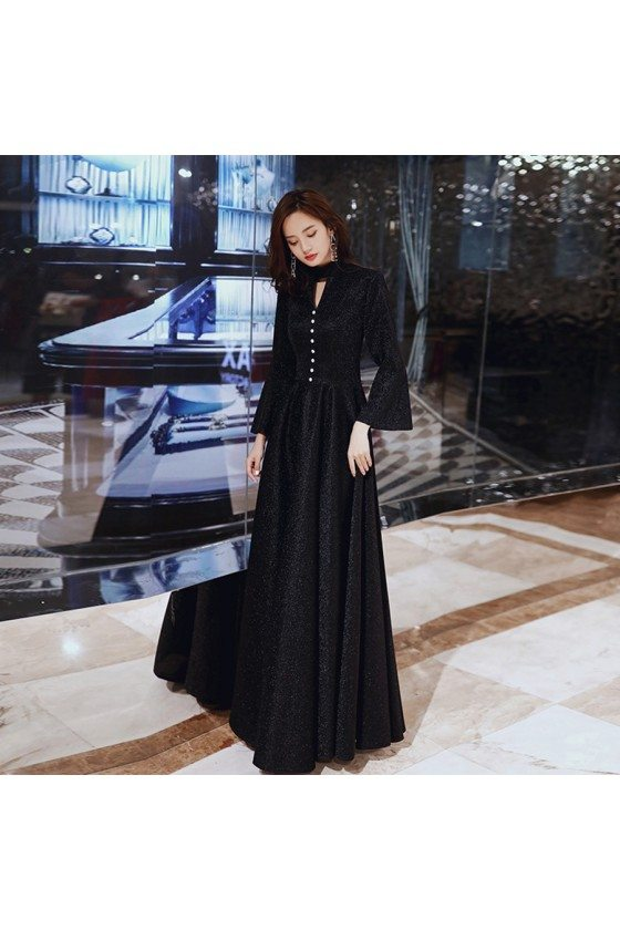 Classy Long Black Aline Evening Dress With Flare Long Sleeves
