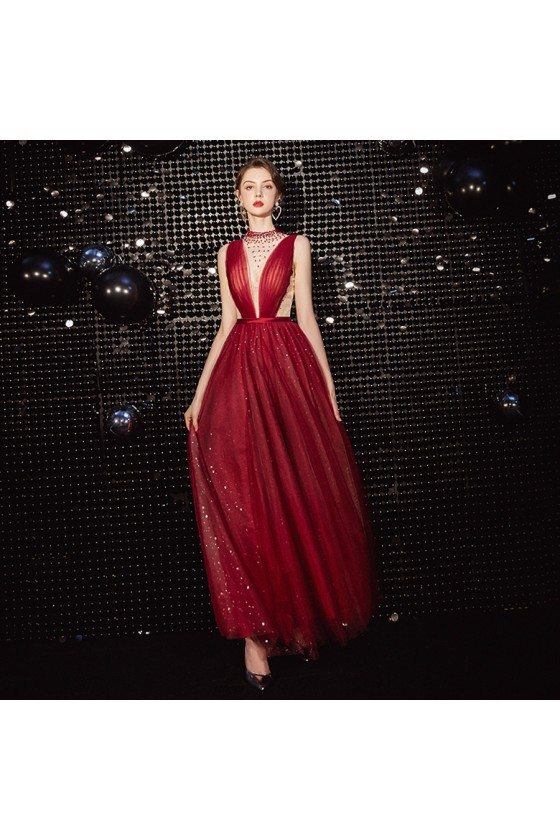 Beaded Illusion Vneck Sparkly Red Prom Dress With Keyhole Back