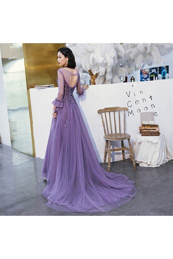 Purple Long Tulle Train Length Prom Dress With Illusion Long Sleeves