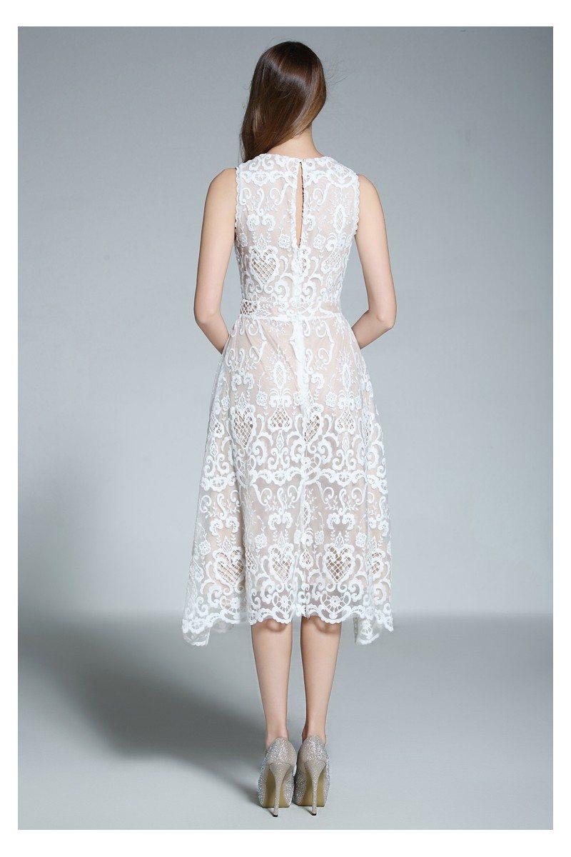 White Lace Sleeveless Short Dress - $82 #DK369 - SheProm.com