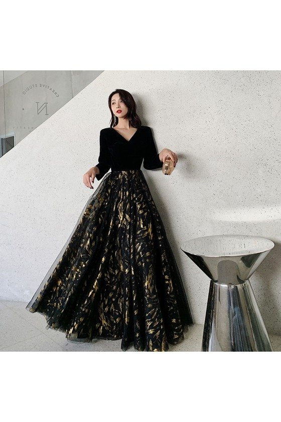 Black With Gold Formal Evening Dress Vneck With Sleeves