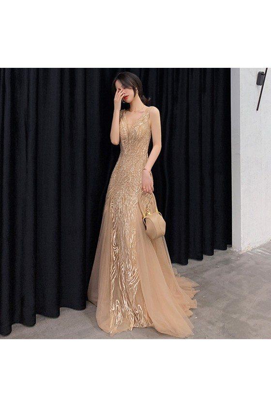 Champagne Beaded Vneck Tulle Long Prom Dress Sleeveless