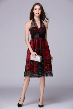 Embroidery Short Halter Dress