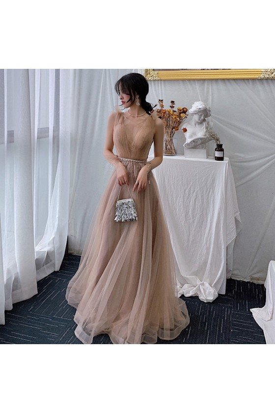 Brown Vneck Long Tulle Elegant Party Dress With Beaded Waist