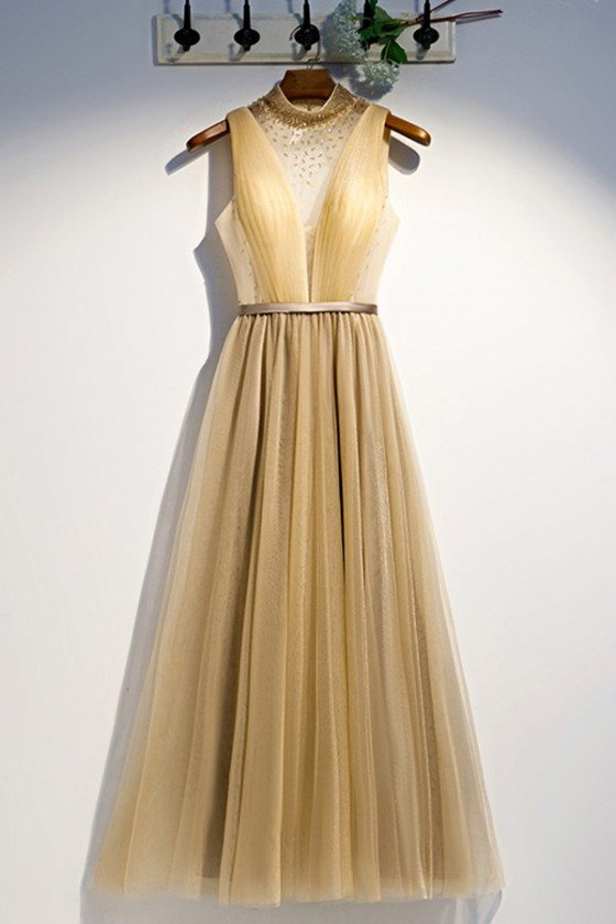 Long Gold Flowy Tulle Party Prom Dress With Sheer Vneck