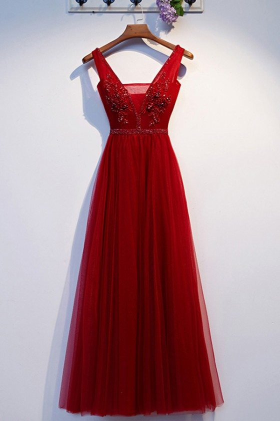 Pretty Long Tulle Burgundy Aline Prom Party Dress With Vneck