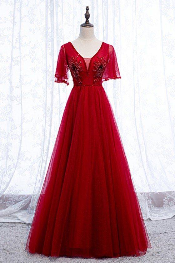 Burgundy Elegant Tulle Long Prom Dress With Vneck Sleeves