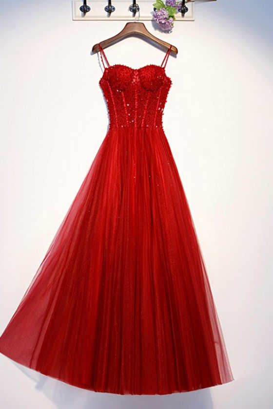 Aline Red Long Tulle Formal Dress With Bling Sequins
