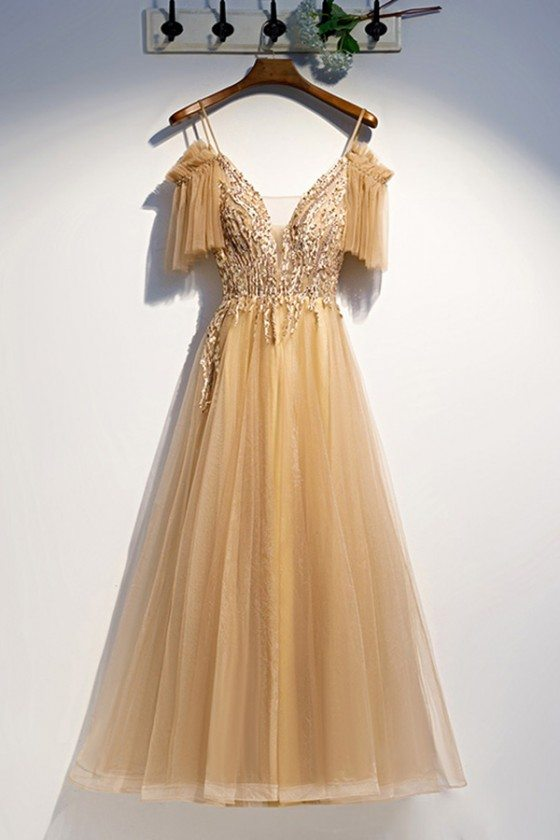 Flowy Long Tulle Gold Prom Dress With Straps Sleeves
