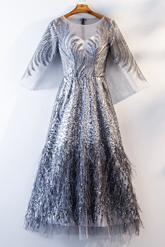 Unique Sparkly Silver Long Party Dress With Sheer Long Sleeves