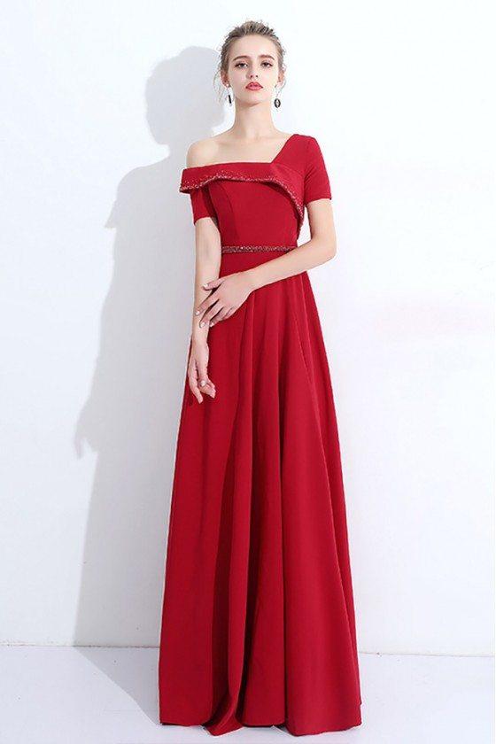 Elegant Asymmetrical Sleeves Long Evening Dress With Beaded Flounce