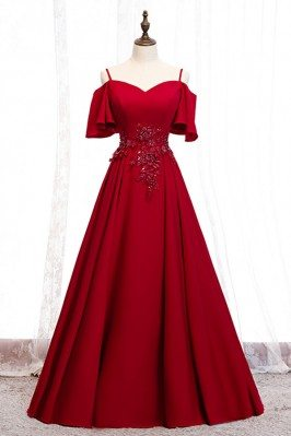 Burgundy Long Satin Elegant...
