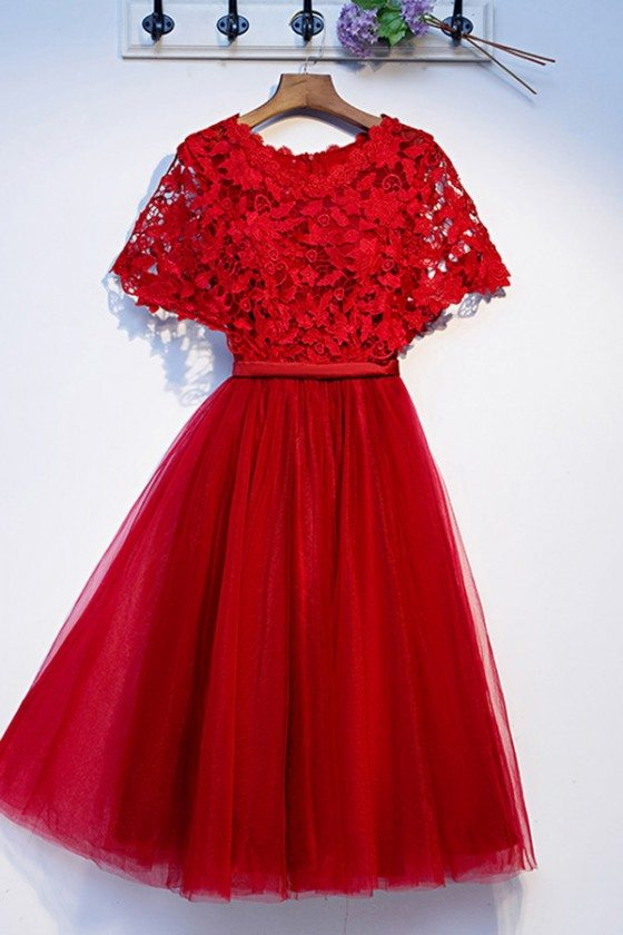 Pretty Red Lace Short Tulle Party Dress With Cape