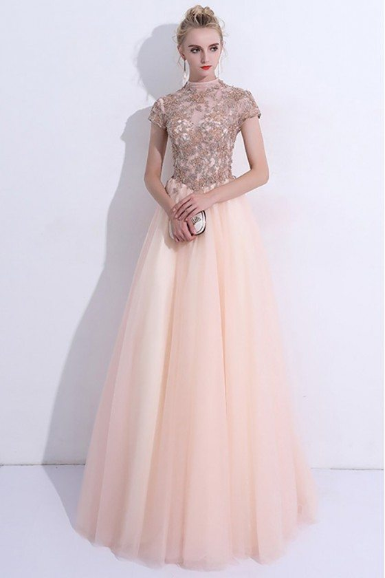 Unique Pink High Neck Long Prom Dress Tulle With Cap Sleeves