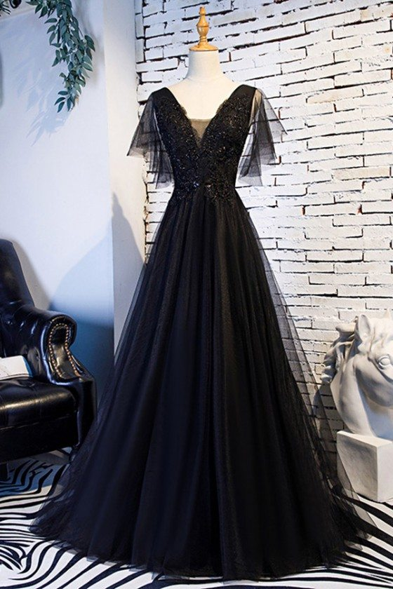 Beaded Lace Long Black Prom Dress With Puffy Sleeves