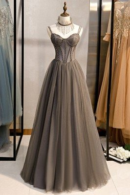 Special Long Grey Tulle...