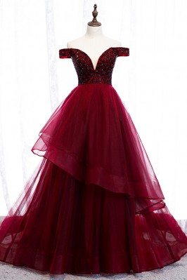 Burgundy Ruffles Long Prom...