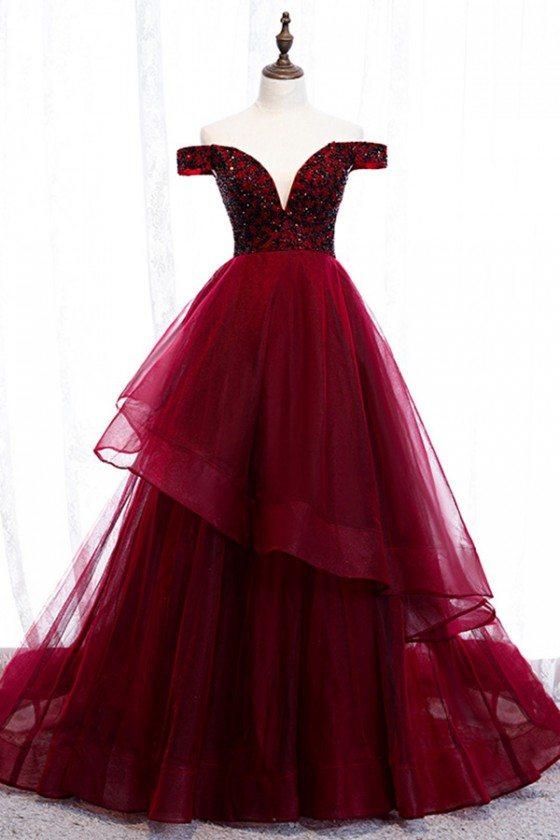 Burgundy Ruffles Long Prom Dress Off Shoulder With Train