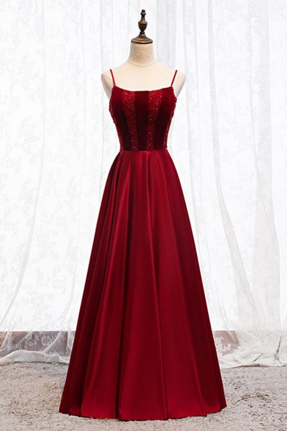 Beaded Top Simple Burgundy Long Prom Dress With Straps