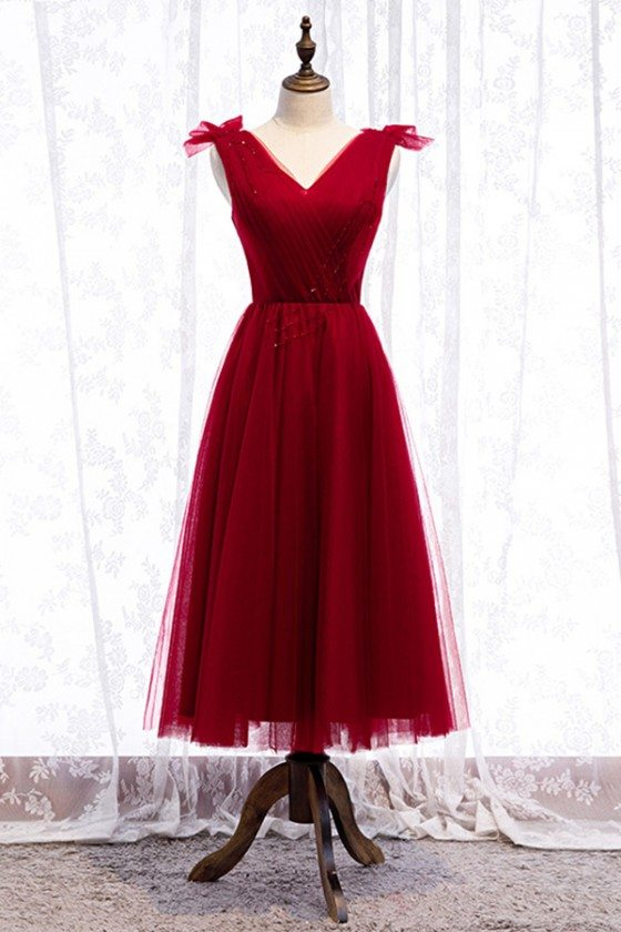 Tea Length Burgundy Tulle Party Dress Vneck With Laceup