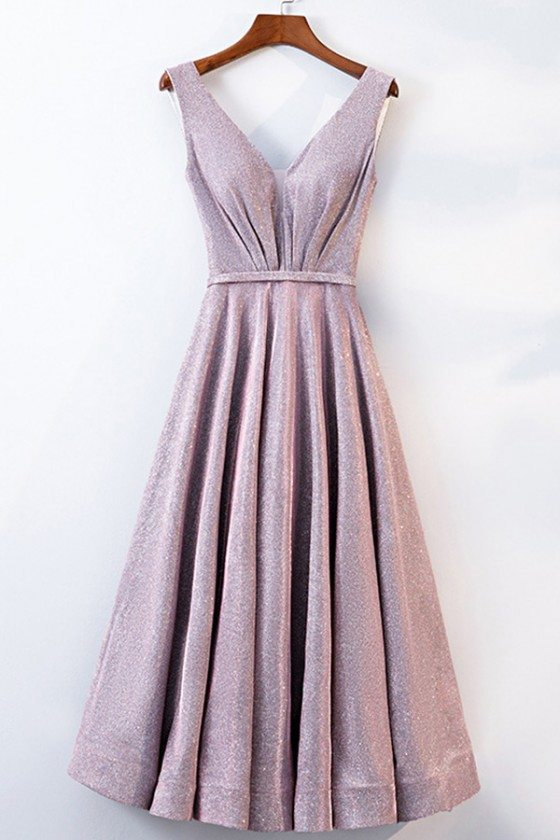 Special Vneck Pink Tea Length Party Dress With Metallic Fabric