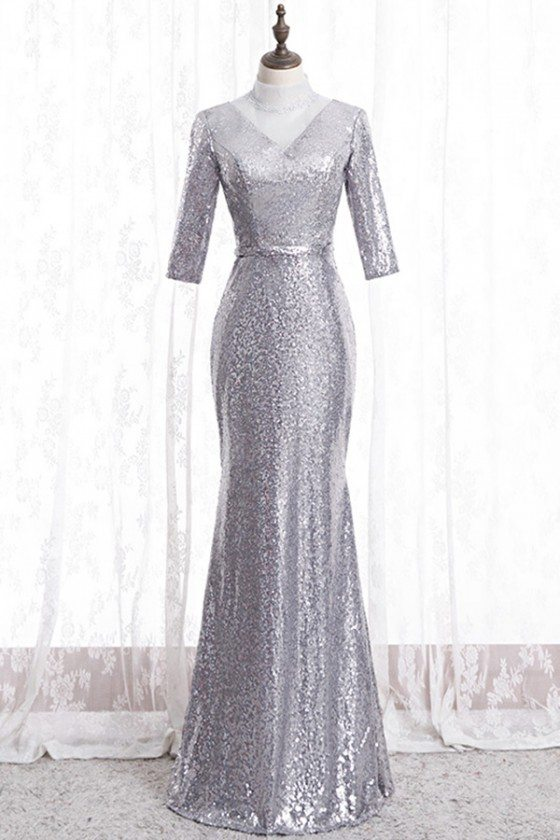 Sparkly Formal Silver Sequins Evening Dress With Sleeves