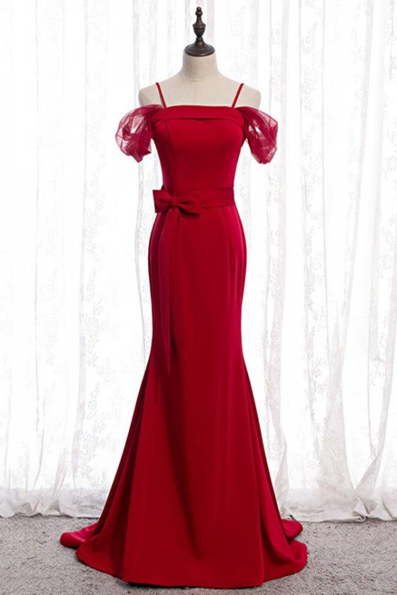 Formal Long Evening Mermaid Dress Burgundy Red Satin With Straps