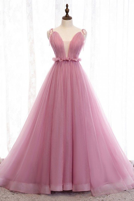 Rose Pink Long Tulle Ballgown Prom Dress With Illusion Vneck