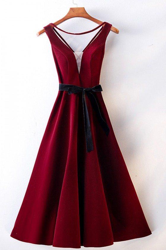 Burgundy Red Tea Length Party Dress Vneck With Sash