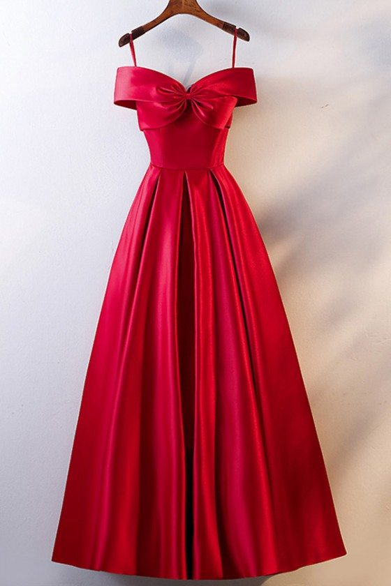 Burgundy Cute Big Bow Prom Party Dress With Spaghetti Straps
