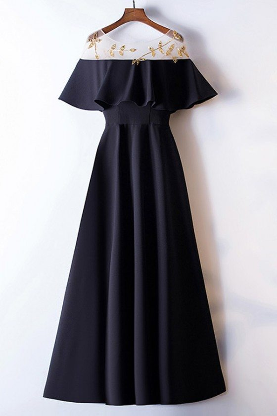 Simple Long Black Formal Dress With Gold Beaded Patterns